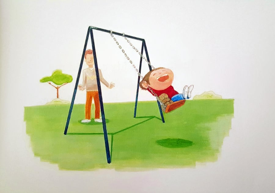 """Daddy pushed me on the swing, so high he made me scream."" - excerpt from Grown-Up Stuff by Abbie Young and illustrated by Matt Prescott."