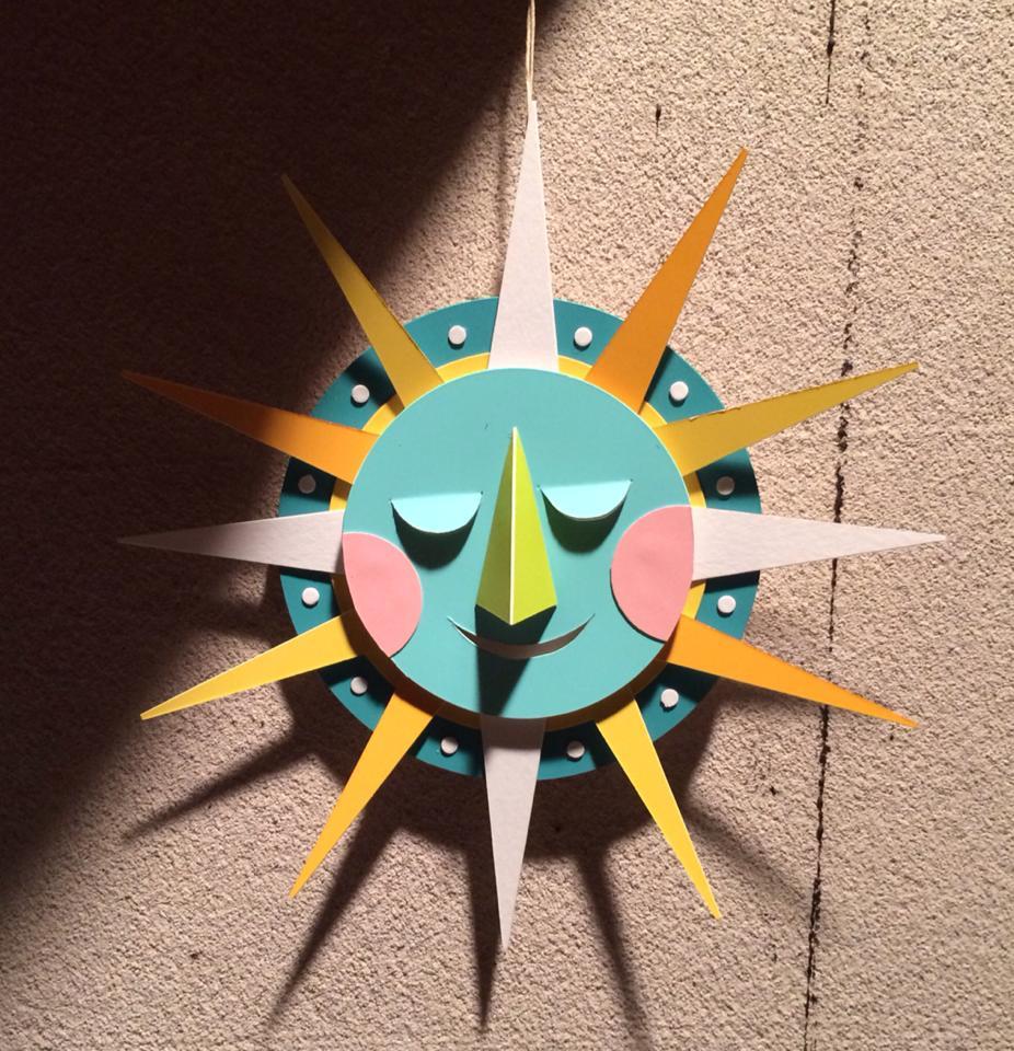 """6"""" paper maquette for the sunburst sculpture."""