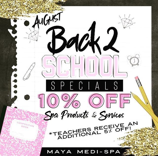 """Let Maya Medi-Spa help you get ready for """"Back to School"""" by offering 10% OFF all Spa products & services for the month of August! {TEACHERS receive an additional 5% OFF!!} #backtoschool #summer #fun #teachers #thankful #forwhatyoudo #kids #teenagers #acne #facial #parents #teachers #relax #maya #medspa #wyoming #spa"""