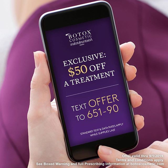 Text OFFER to 65190 or visit https://btxc.co/50off and get $50 OFF a BOTOX® Cosmetic treatment! Offer valid thru 9/1/2019. _ ☎️ 307.382.0777 to schedule an appointment  #botox #relax #thosewrinkles #erasethosewrinkles #maya #medispa #rocksprings #wyoming #antiaging #offer #save #brilliantdistinctions #mayamedispa