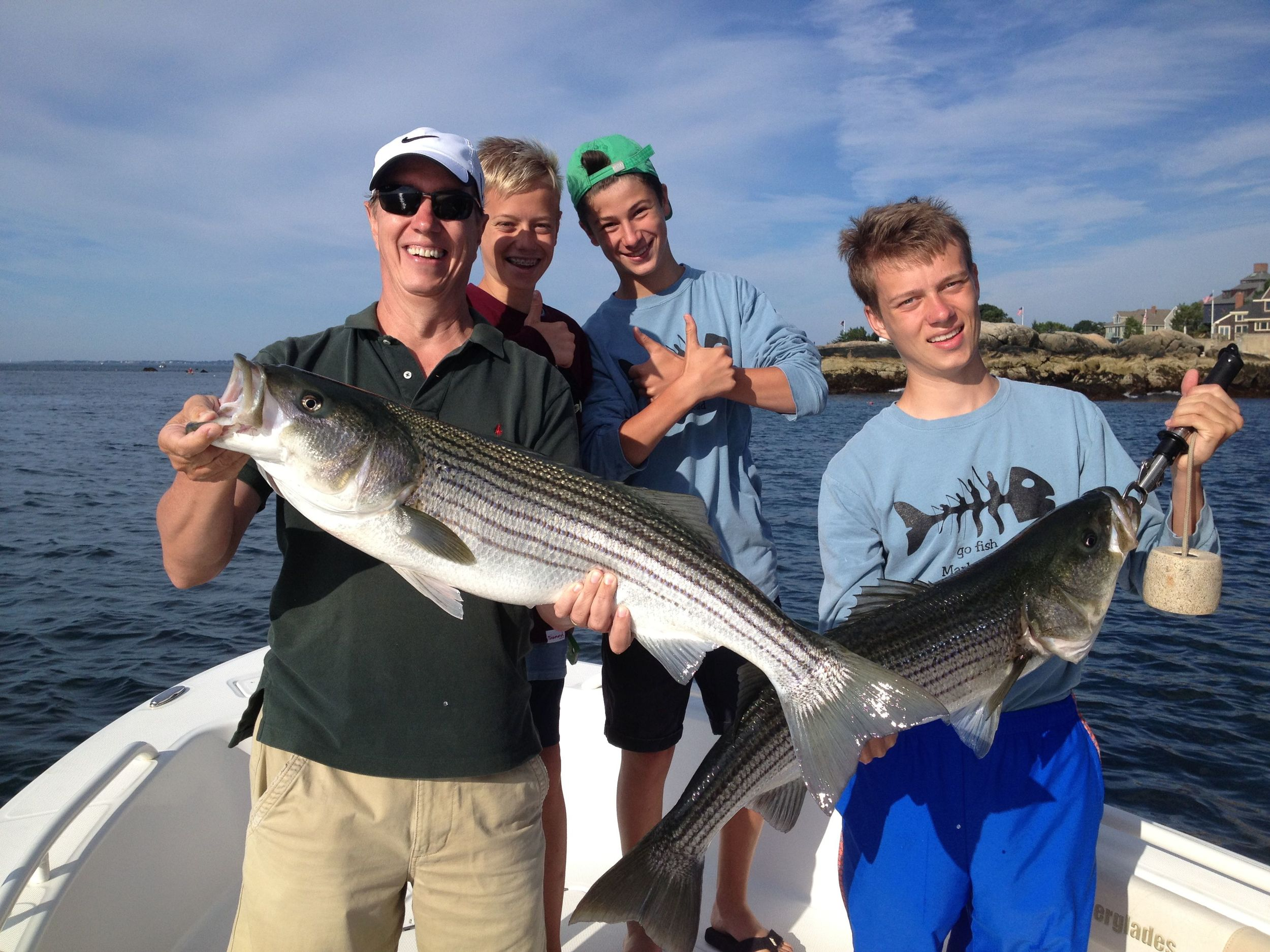 Image of a large striped bass caught on a family fishing trip off Manchester