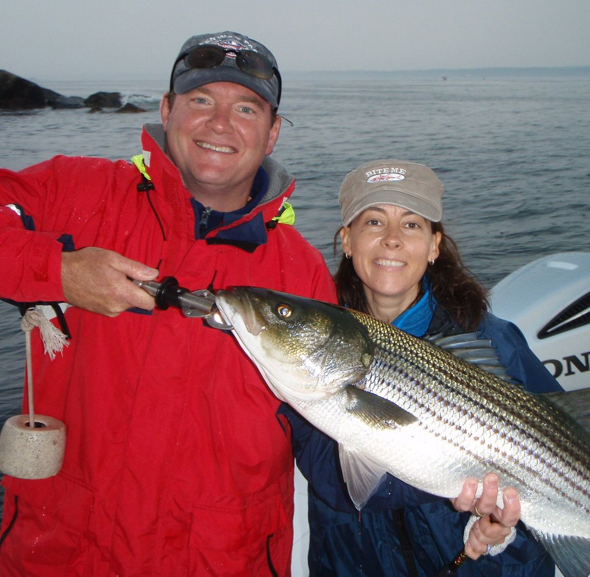 Image of a nice striped bass caught off Marblehead