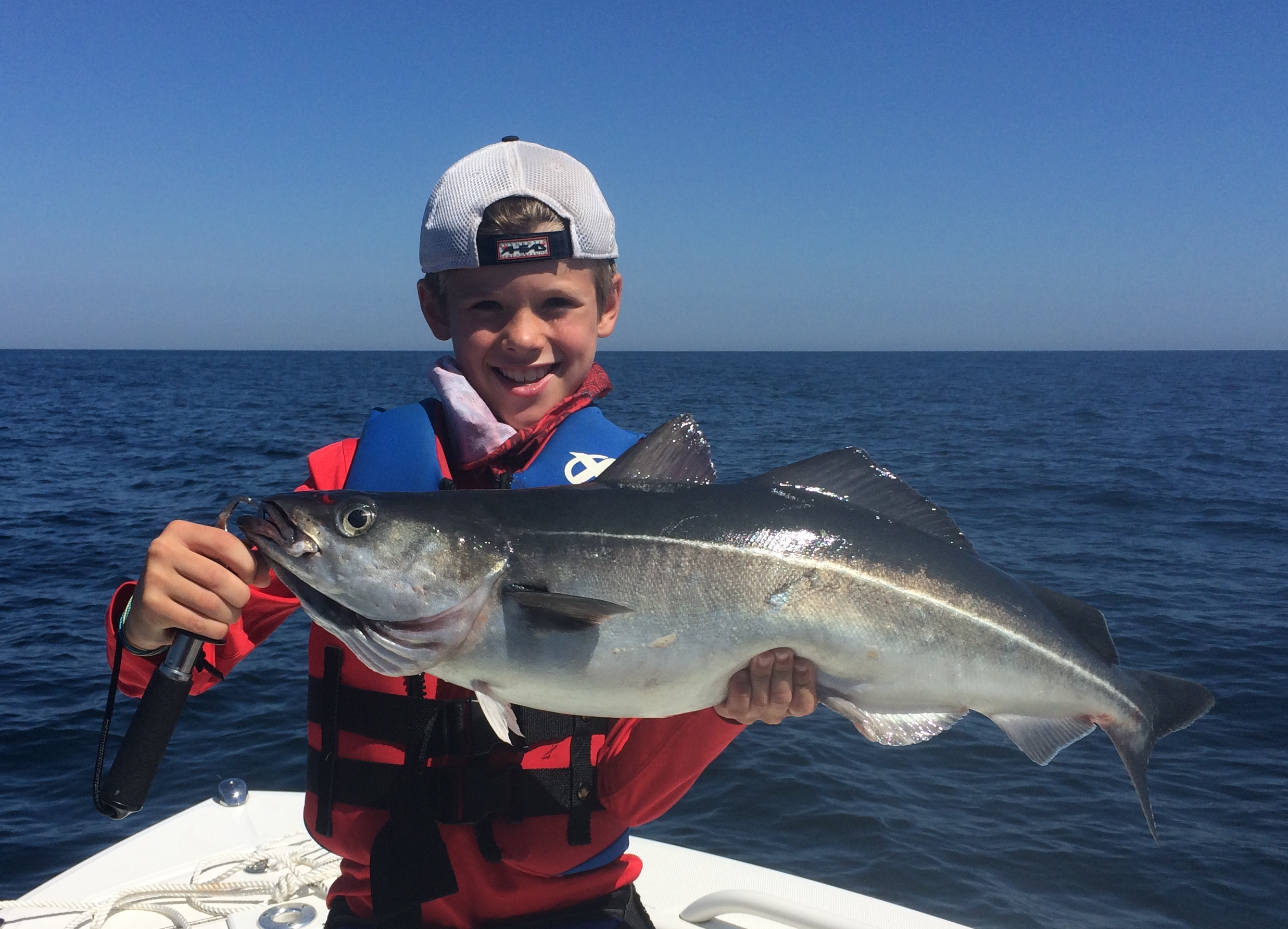 Image of a large Pollock caught in Kids Fishing Camp. Makes for delicious eating