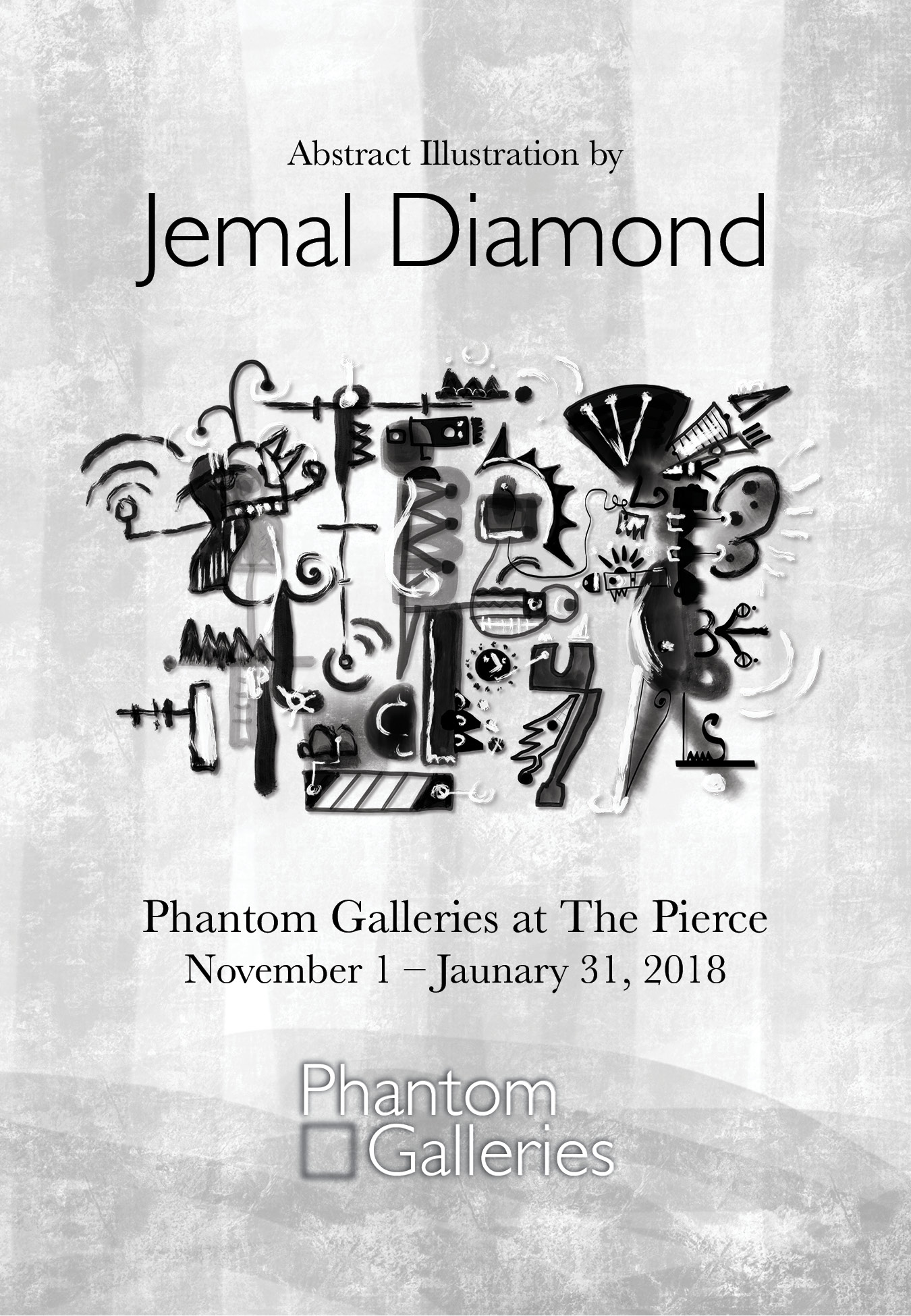 - Phantom Galleries is pleased to present a special collection of limited-edition prints by abstract artist Jemal Diamond. The collection, created solely on the Apple iPad, explores at the cross-section of digital design and traditional mark making to create new, contradictory, layered, abstracted figures and landscapes.A graduate of the School of the Art Institute of Chicago, Jemal takes a playful, improvisational approach that aims to keep the viewer's joyful engagement while introducing a wide-range of darker graphic indicators and visual cues.For this exclusive collection, each limited-edition fine art print, hand-signed by Jemal, is beautifully mounted in a black satin wood frame, printed on Pura Fine Art velvet paper, 4-ply conservation rag mat, and acrylic non-glare glazing.Curator Vivian Giourousis' teaser video:click here.