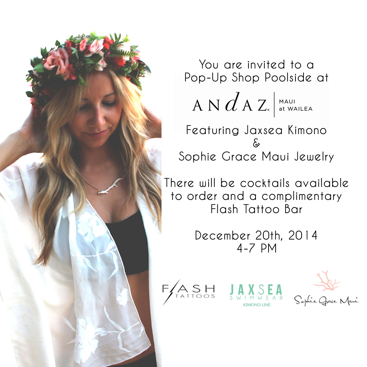 Andaz Maui Pop Up Shop with my favorite Kimono Designer, Jaxsea! Cocktails, shopping and a Jewelry Bar AND a Flash Tattoo bar, are you kidding me?