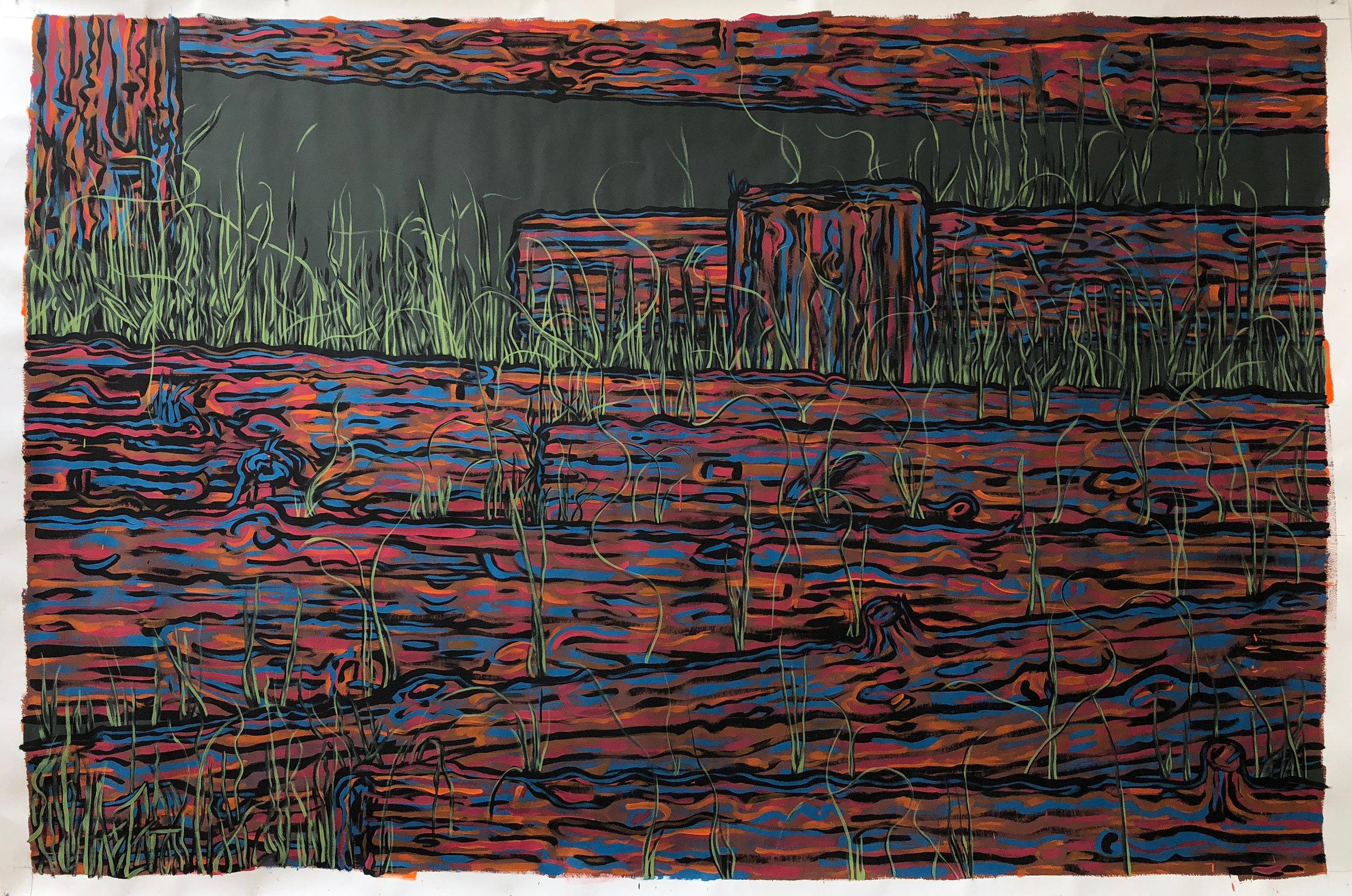 "Lot,   2018 aqua dispersion, tempera, and gesso on paper, 72"" x 106"""