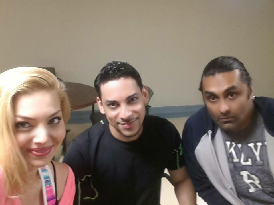 Actress Janet Miranda and Actor Jason Torres with Stunt Coordinator Alim H. Ali at rehearsals.