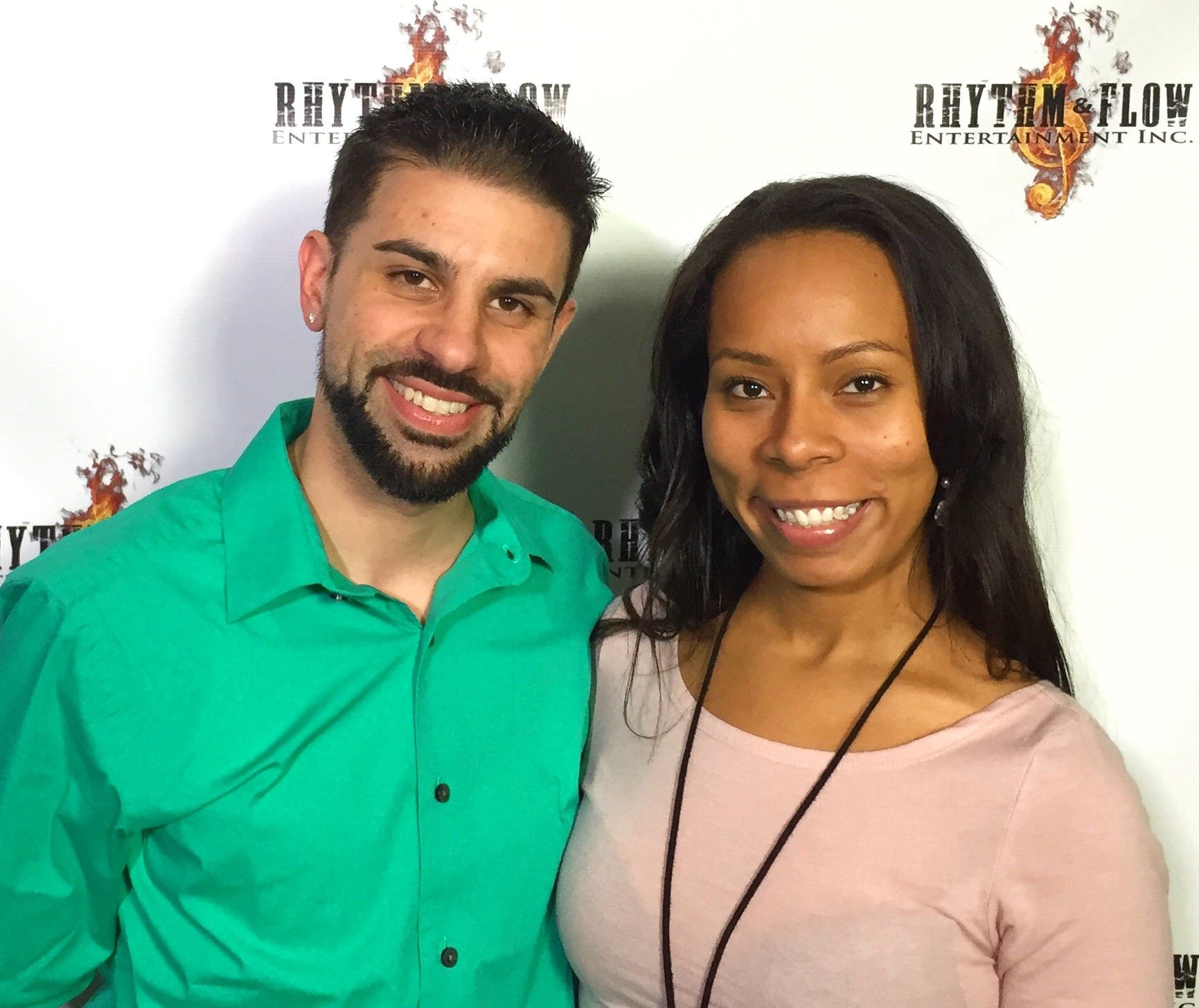 Director Chase Michael Pallante with Actress Shanae Harris at RHYTHM&FLOW ENTERTAINMENT INC.