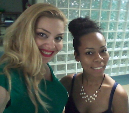 Actress Janet Miranda and Shanae Harris at rehearsals for the film.