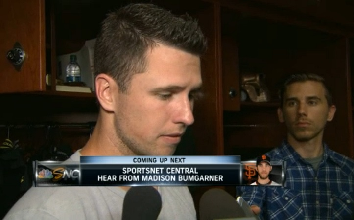 Interviewing Buster Posey inside the San Francisco Giants clubhouse