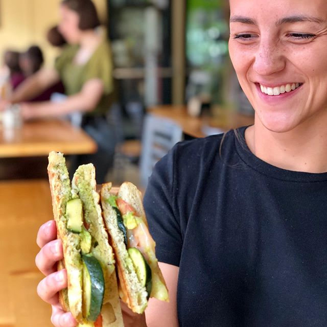 Our new employee (Faith) and one of our favorite sandwiches, the veggie panini! Which is vegan-with vegan cheese that melts! Even if you aren't vegan, its a delicious choice that's great for you and the environment. • • • • • #vegan #vegansandwich #foccacia #newhire #welcometotheteam #lunchtime #sandwichesarebeautiful #eatinbangor #eatmaine #eatlocal #healthyanddelicous #yumm #forkandspoon #cafelife #bangorme