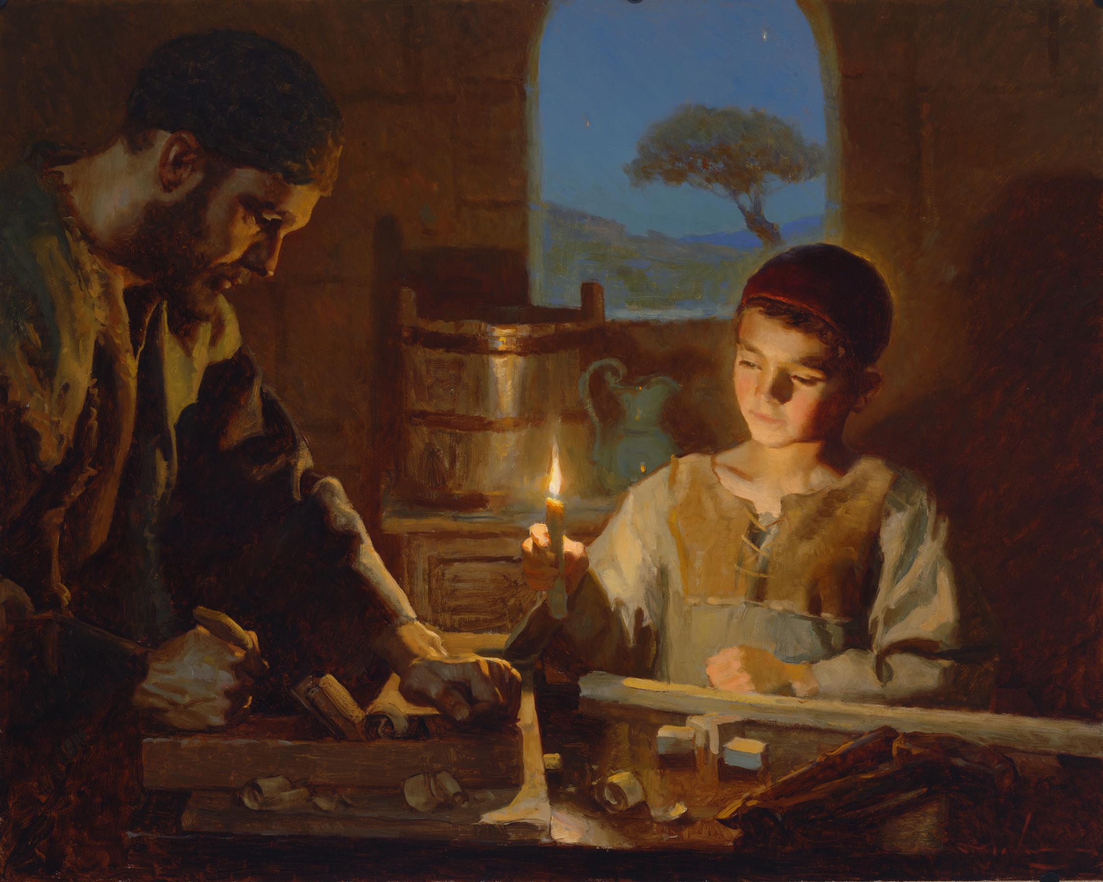"""In Joseph's Woodshop , 24x30"""", oil on board"""