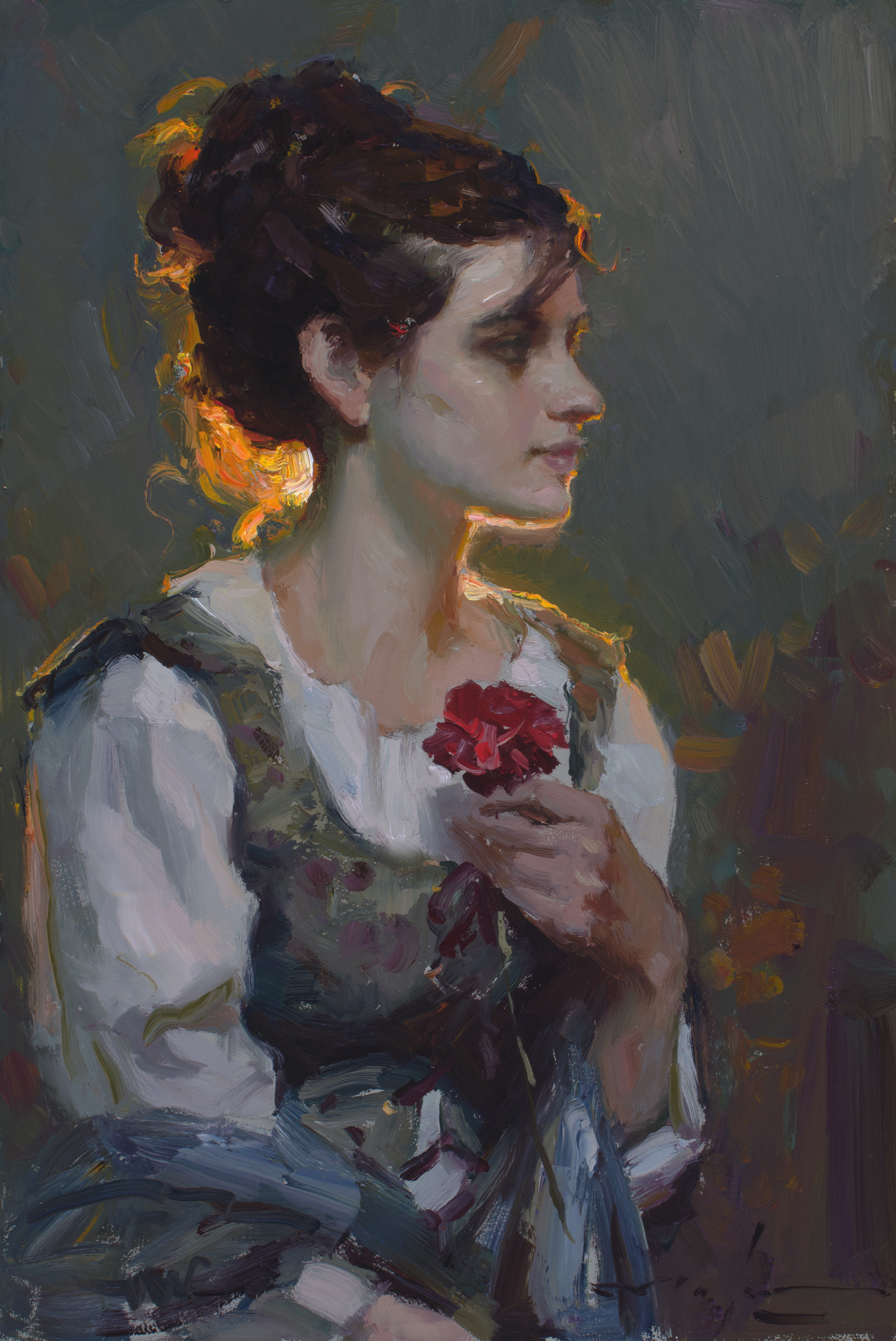 """Carnation , 16x12"""", oil on board  Available at   Trailside Galleries"""