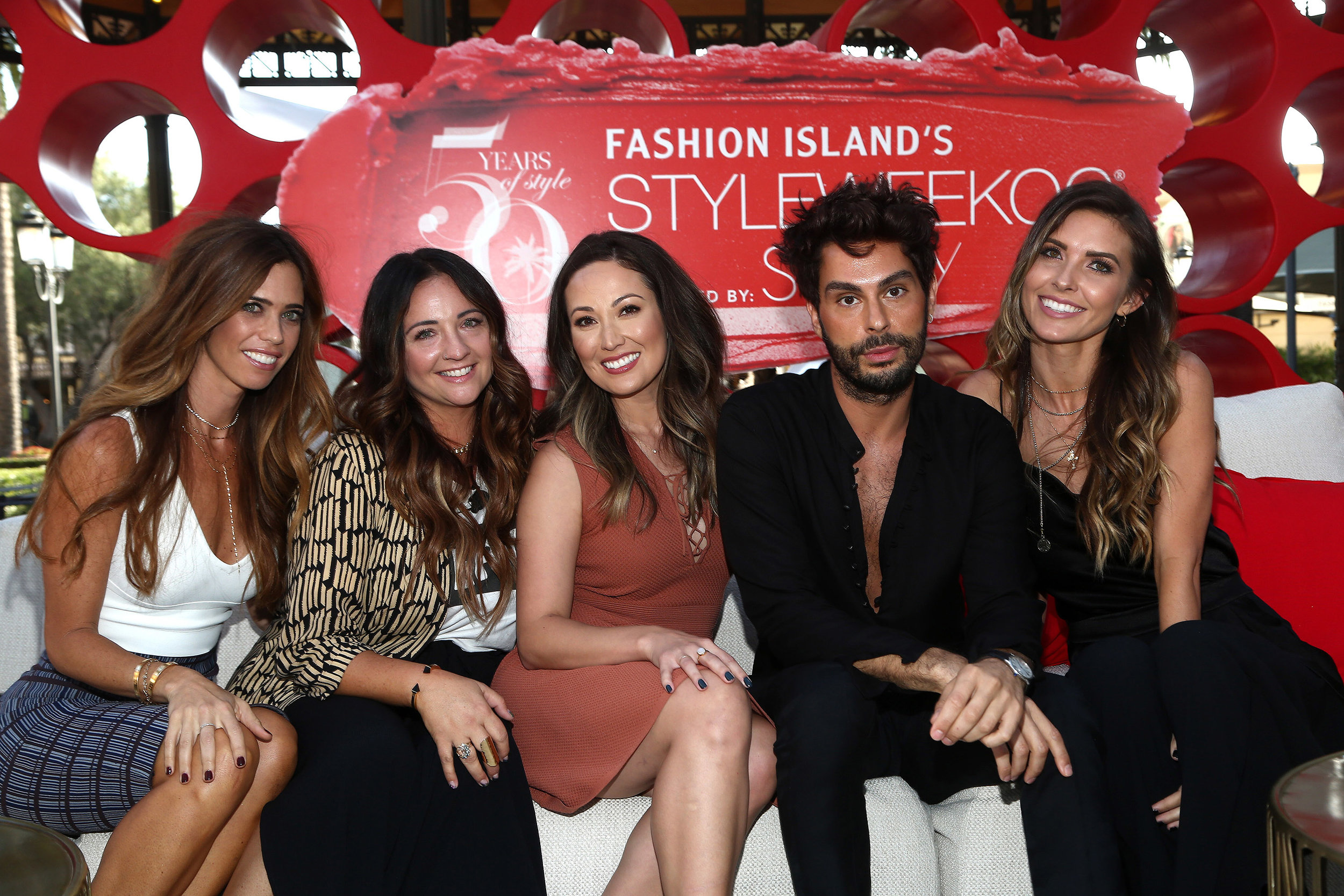FROM LEFT:  Real Housewives of Orange County  star and lifestyle blogger Lydia McLaughlin, 1011 Makeup founder Erica Beukelman, beauty expert + Mixed Makeup co-founder Susan Yara, The Glam App co-founder Joey Maalouf, and Prey Swim founder and TV personality Audrina Patridge