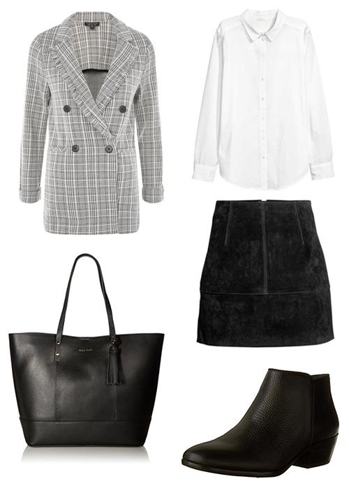 Topshop  blazer  | H&M  shirt  and  skirt  | Cole Haan  tote  | Sam Edelman  boots