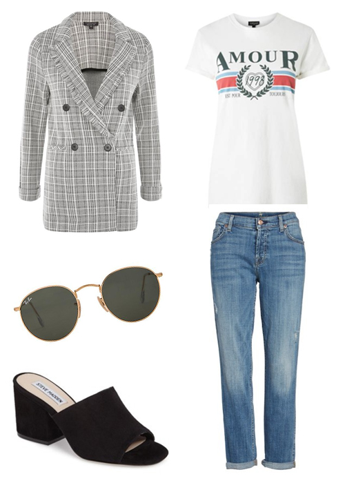 Topshop  blazer and  T-shirt  | 7 For All Mankind  jeans  | Ray-Ban  sunglasses  | Steve Madden  sandals