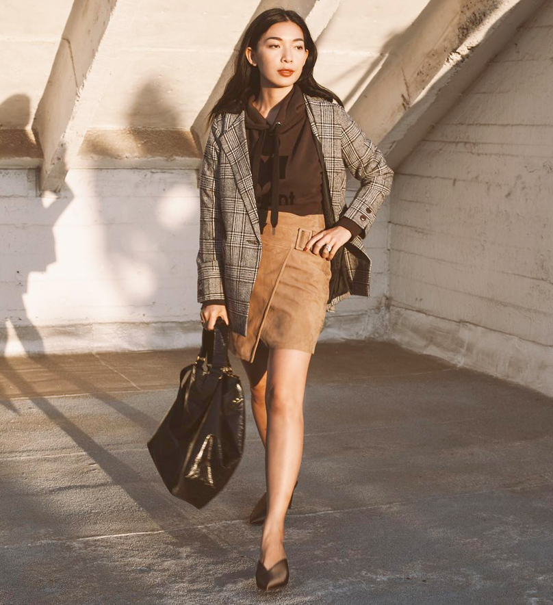 Stephanie of  Honey & Silk  is wearing  Petite Studio jacket, VINCE  skirt , Isabel Marant purse, and WhoWhatWear Collection  shoes