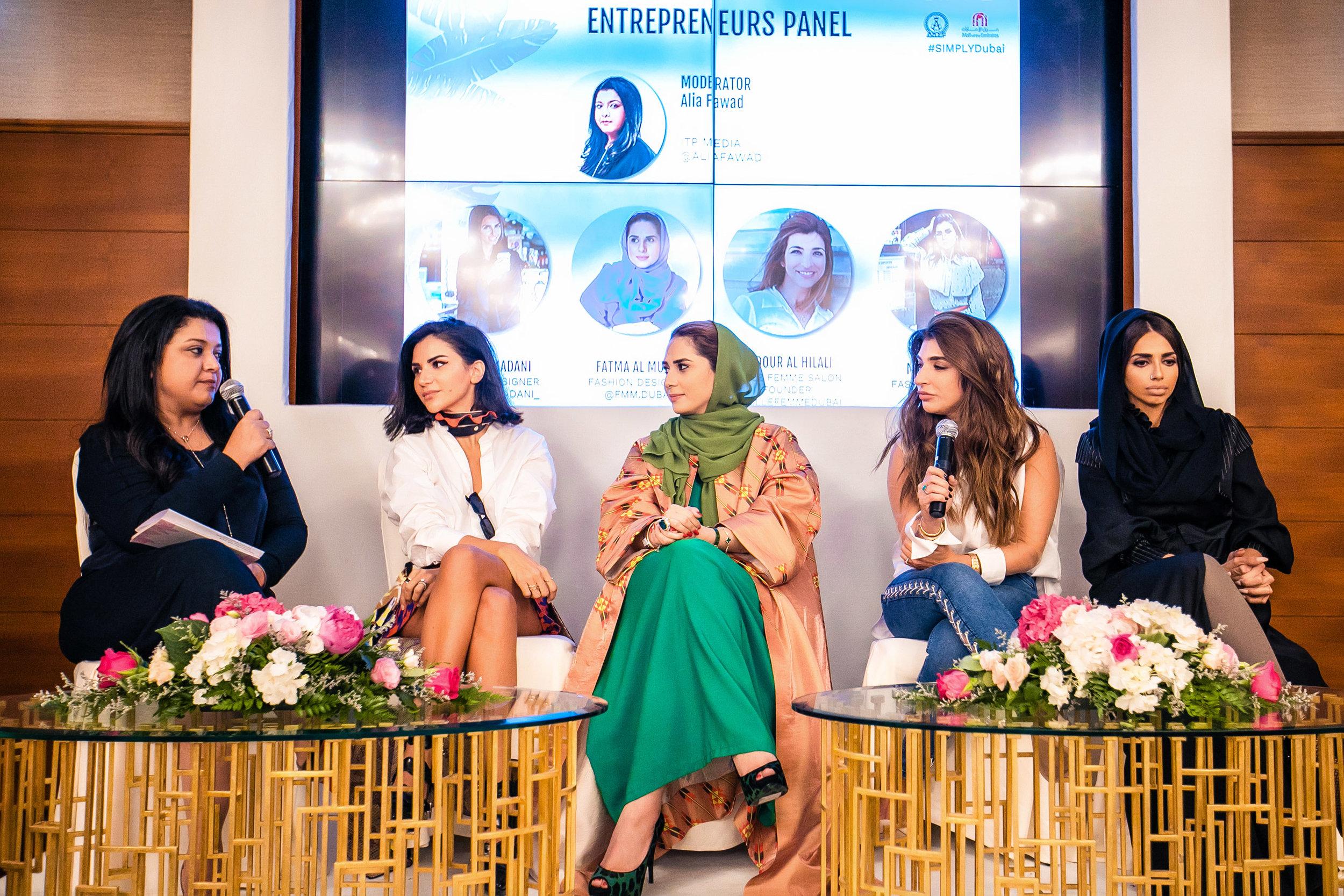 FROM LEFT: Alia Fawad, Mariam Yeya, Fatma Al Mulla, Bodour Al Hilali, and Sara Al Madani