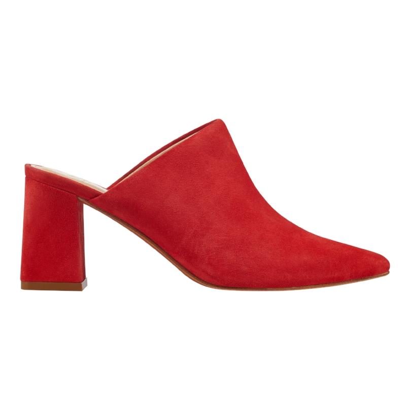 Marc Fisher LTD Zivon Mule in Red/Orange Suede  | $160
