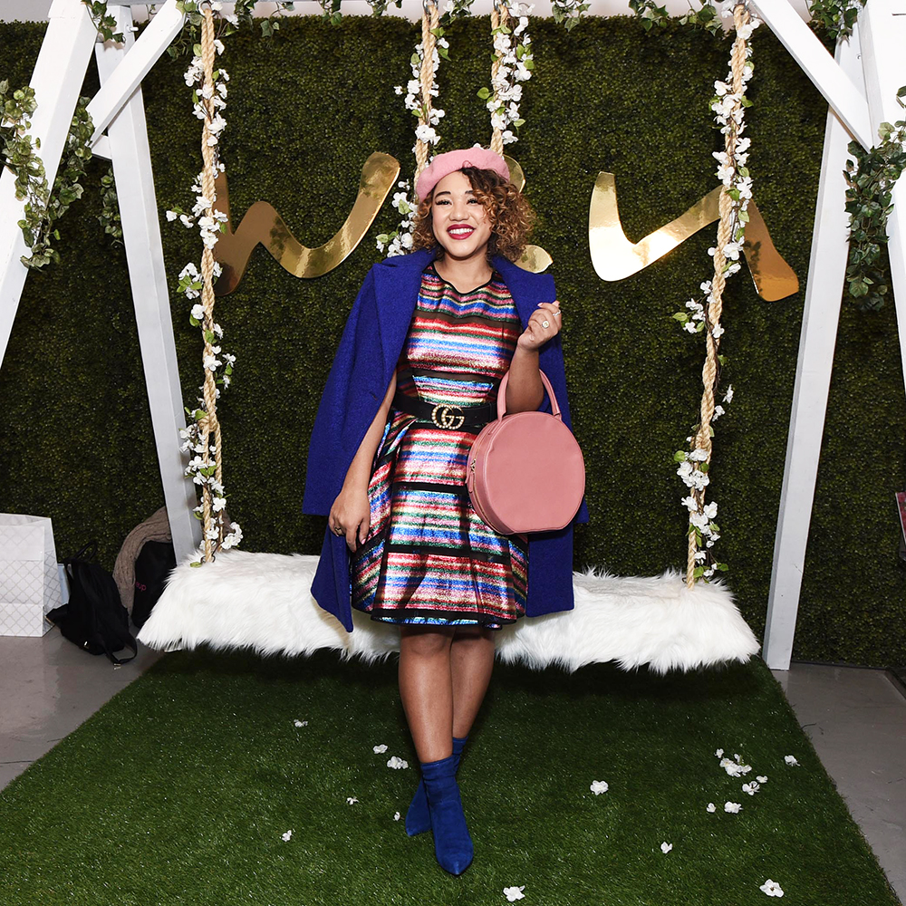 Fashion blogger  Color Me Courtney  in front of Wen's swing