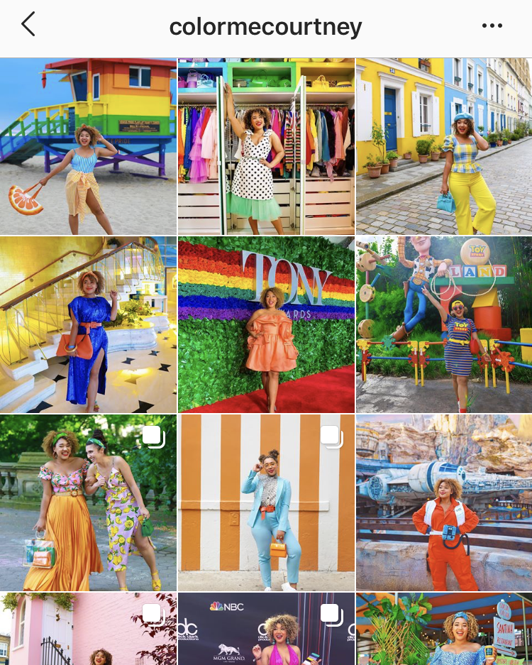 @colormecourtney puts her outfits front and center consistently on her feed