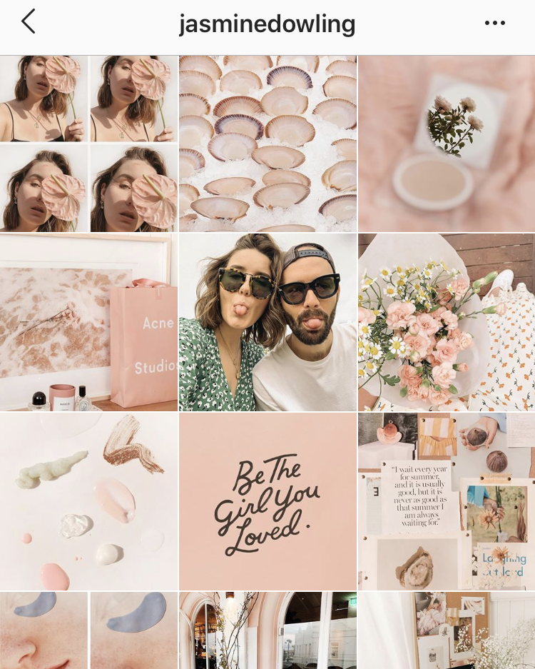 Blush pinks and creams rule @jasminedowling's feed