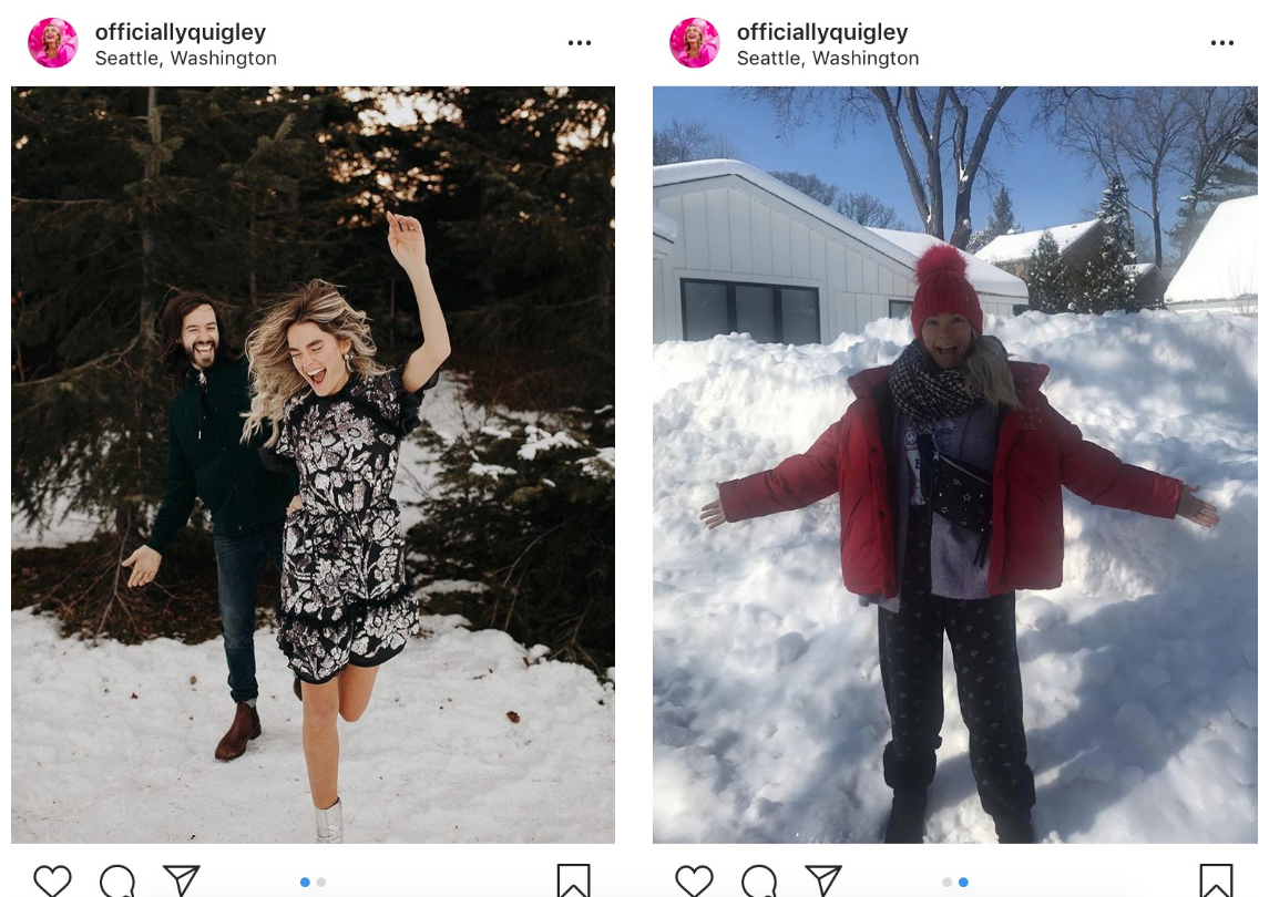 @Officiallyquigley makes great use of the carousel feature to show the difference between Instagram and reality