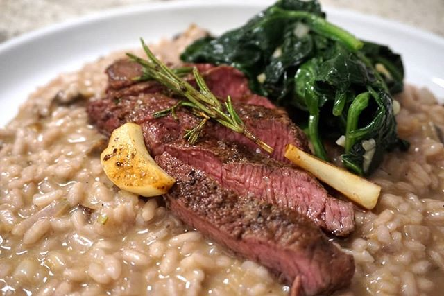 Dinner is served.  When people give you ingredients and  tools to play with, you play. -Rosemary Garlic Steak from a Cast Iron and Mushroom Risotto-  #sandc #risotto #dinner #fresh #homemade  #withlove #comfortfood #food #farmtotable #play #gettingmygrooveback #glutenfree #sonya6000 #happyone #savory #dontforgetthesalt