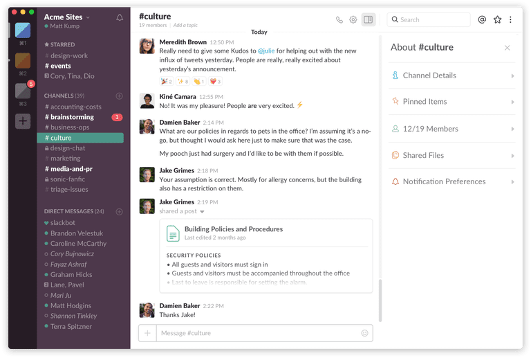 Slack for teams is connected with twitter and linkedin