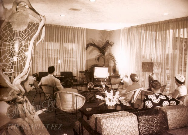 The TV Room at Driftwood Motel, Sunny Isles, Florida, 1950s. As above.