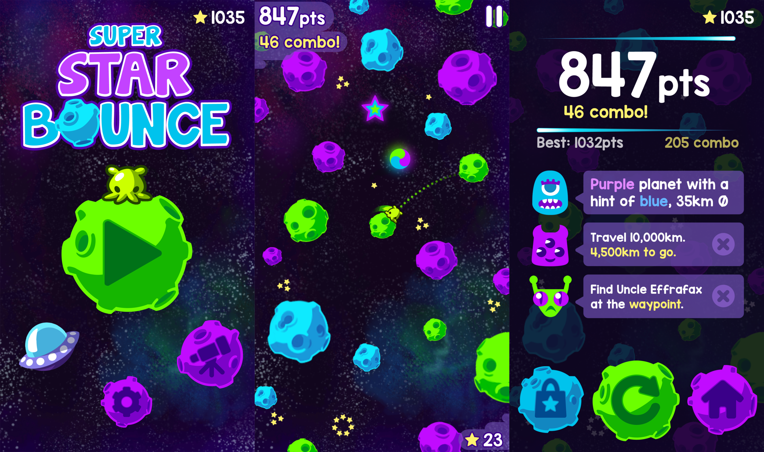 Super Star Bounce Game Over Screen