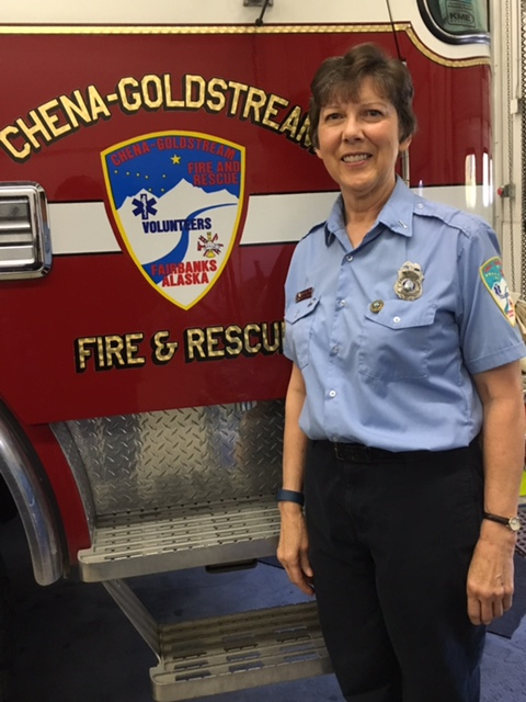 "Lieutenant Andrea Gelvin     Chena Goldstream Volunteer Fire and Rescue    Lt. Andrea Gelvin is a Lead Medic and Battalion Officer for Chena Goldstream Fire and Rescue and is also the recruit coordinator for her department. She handles all the in-processing and is the main contact for their first few weeks. She retired from teaching a few years ago but still helps the community by teaching CPR and many other classes. She travels all over the state to different schools, helping them set up health classes like ETT, EMT, and other pre medical classes. Before moving to Fairbanks, Andrea lived in Central, Alaska where she worked as the Central Emergency Team leader. When she learned she'd be moving to Fairbanks in 1990, she became an EMT instructor so she could teach the folks at Central before having to leave. She continuously goes back to teach EMT courses to the people of Central to make sure they are up to date and ready for emergencies. Andrea loves educating people. She loves training people to save lives, and teaching younger people about future opportunities they have within the EMS world. She is always ""on the job"". Even if she's at home watching a movie, she keeps her ears open for a call and is ready to help anyone that needs it at a moment's notice."