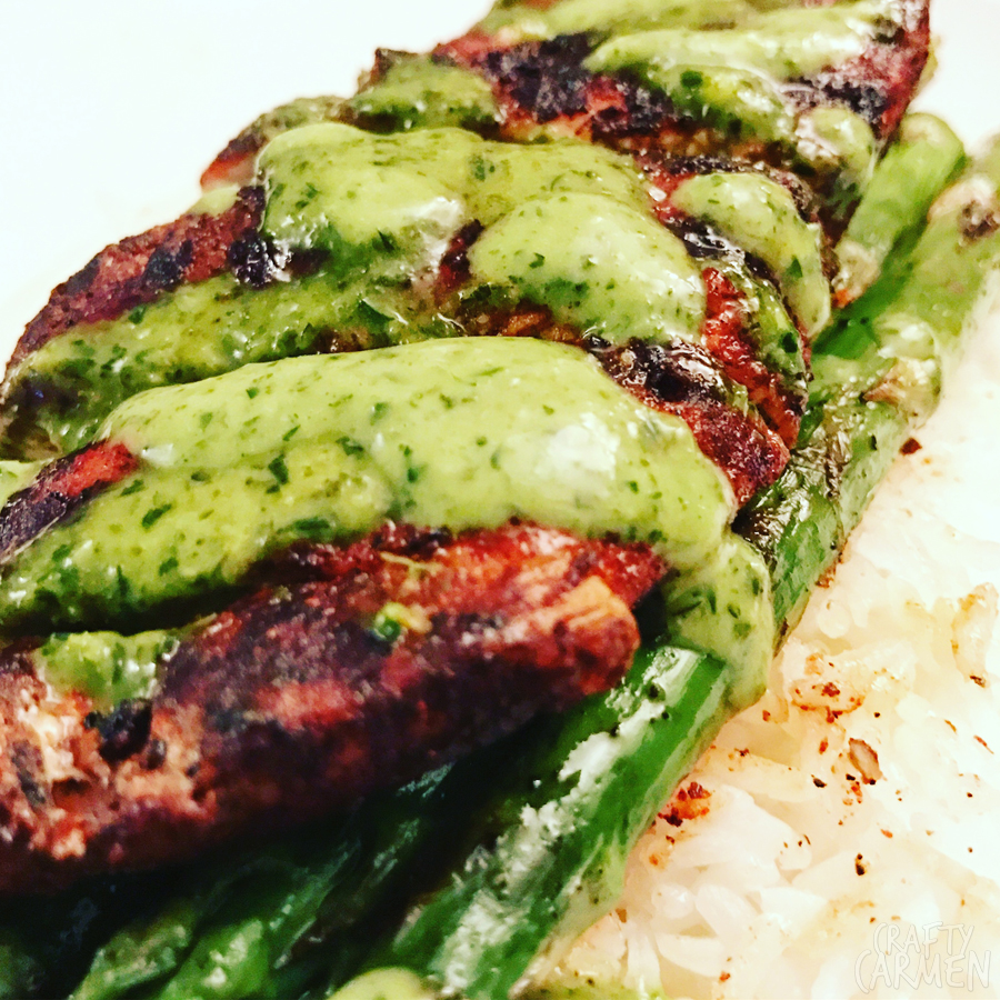 Grilled Spice Chicken and Asparagus with Parsley-Mint Sauce | craftycarmen