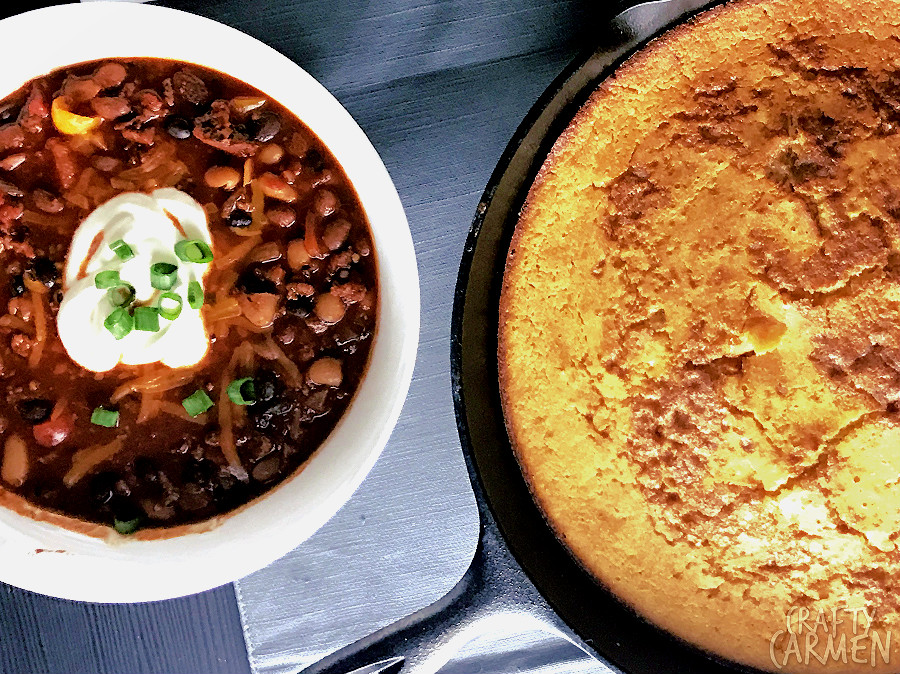 Game Day Chili +  Cast-Iron Cornbread — Recipe from The Seasoned Life by Ayesha Curry | craftycarmen