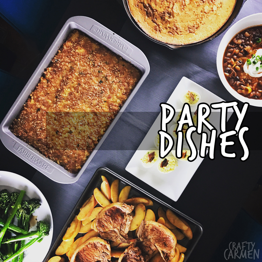 Cast-Iron Cornbread, Game Day Chili, Deviled Eggs with Brown Sugar Bacon, Pork Chops and Apples, Roasted Broccolini, The Best Mac and Cheese — Recipes from The Seasoned Life by Ayesha Curry | craftycarmen