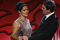 Salma Hayek accepts the Anthony Quinn Award for Industry Excellence
