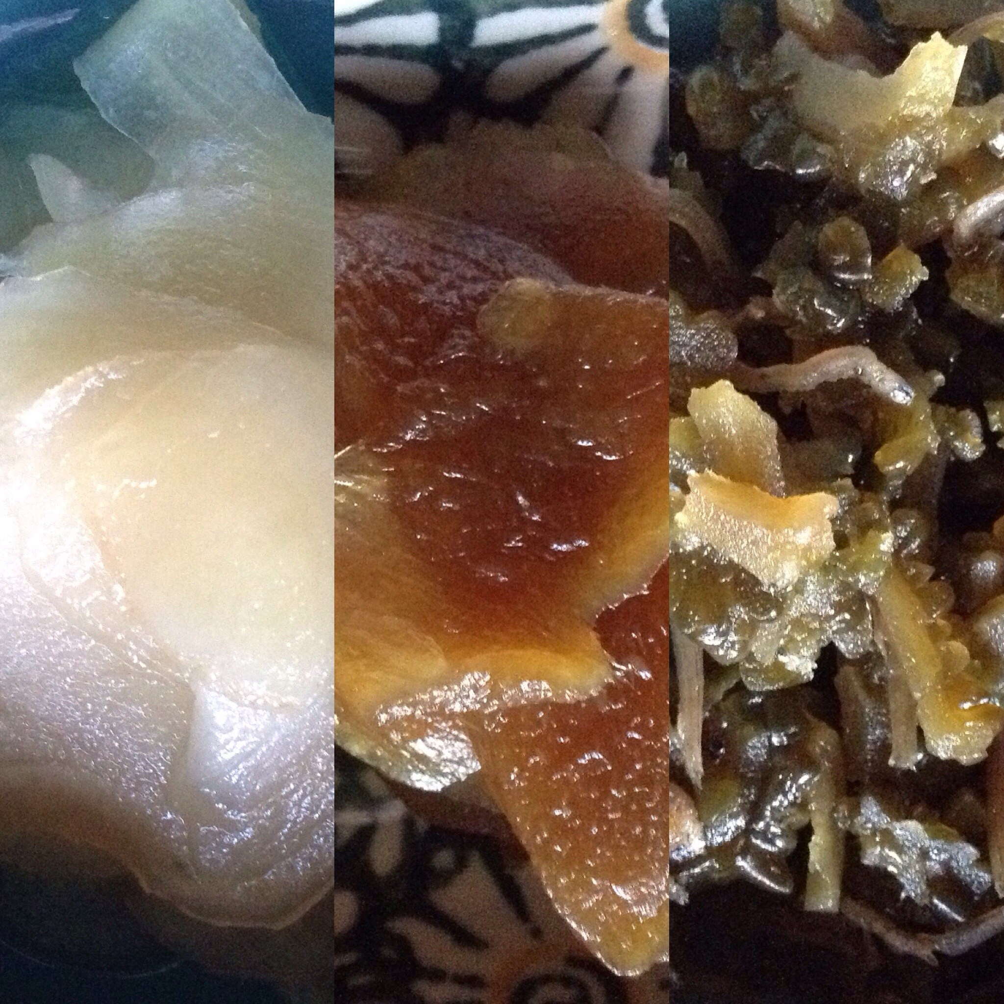 From left to right: ginger in vinegar, candied ginger, gono