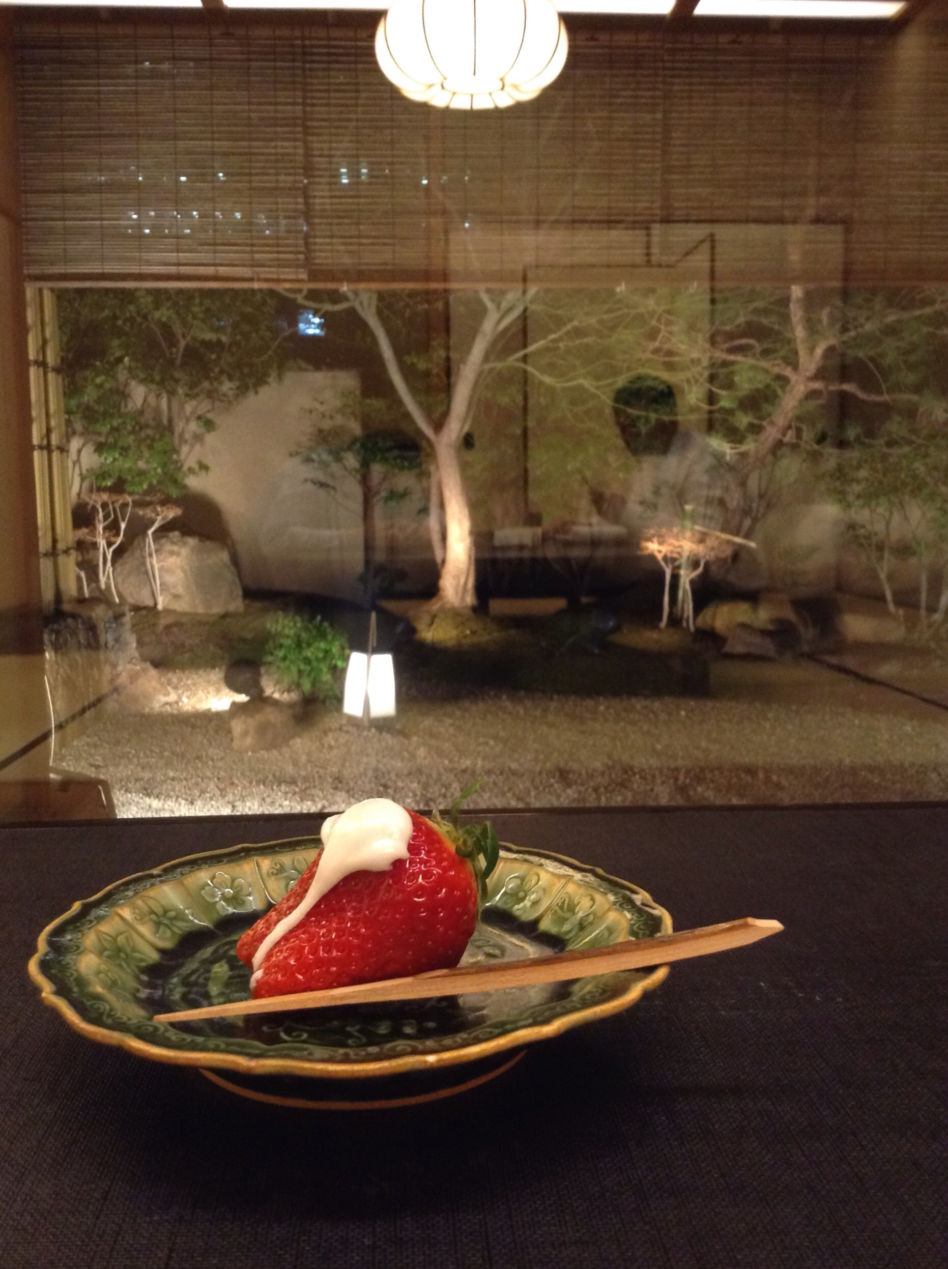 Our dessert last night and the view to the garden