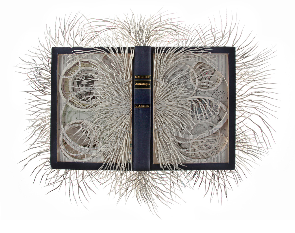 paper cut book sculptures by  Barbara Wildenboer .