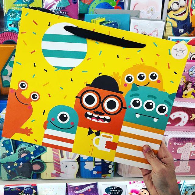 Spotted my Fathers Day monsters gift bag in @sainsburyshome 🎉👍🤪#surfacedesigner #kidsillustration #kidsdesigner #monsterillustration #fathersday #sainsburyshome #cutedesign #giftbag #giftbags