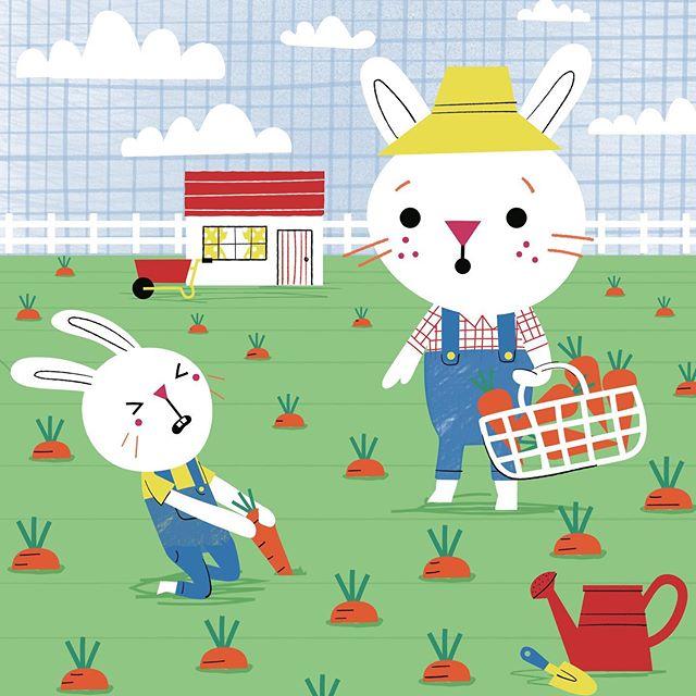 🐰🐰🥕🥕🥕🥕🥕 #kidsdesigner #kidsillustration #bunniesofinstagram #carrots #surfacedesigner #cuteillustration #carrrotfarmers