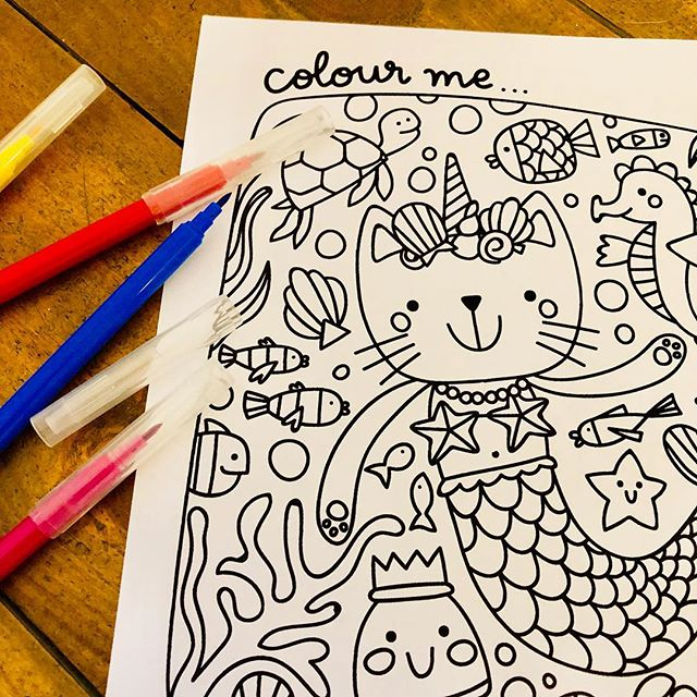 Did you know it's World Oceans Day today? I made this mermaid cat doodle into a printable colouring in page to celebrate! Link in bio ✌🏻🐙🐡🦑🐠🦐🐟🦞🐬🦀🐳 #worldoceansday #kidsdesigner #colouringbook #kidsactivities #kidsactivity #freeprintables #colourin #kidsillustration #mermaidcat #underthesea
