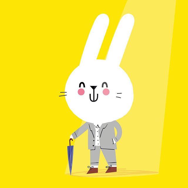 Bunny with a Brolly 🐰☔️ #kidsillustration #kidsdesigner #cuteillustration #bunny #cute #kidsbookillustrator #rainraingoaway