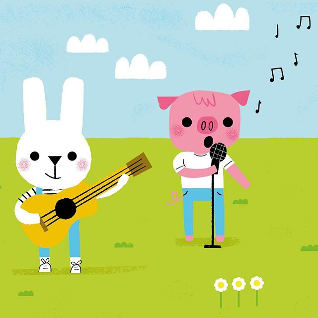 Here's a bunny and a pig signing a song to celebrate #worldmusicday2019 🐰🐷🎤 #kidsillustration #childrensillustrators #kidsillustrator #cuteillustration #bunny #pig #worldmusicday #colourcoop #kidsbookillustrator #kidsbookillustrator