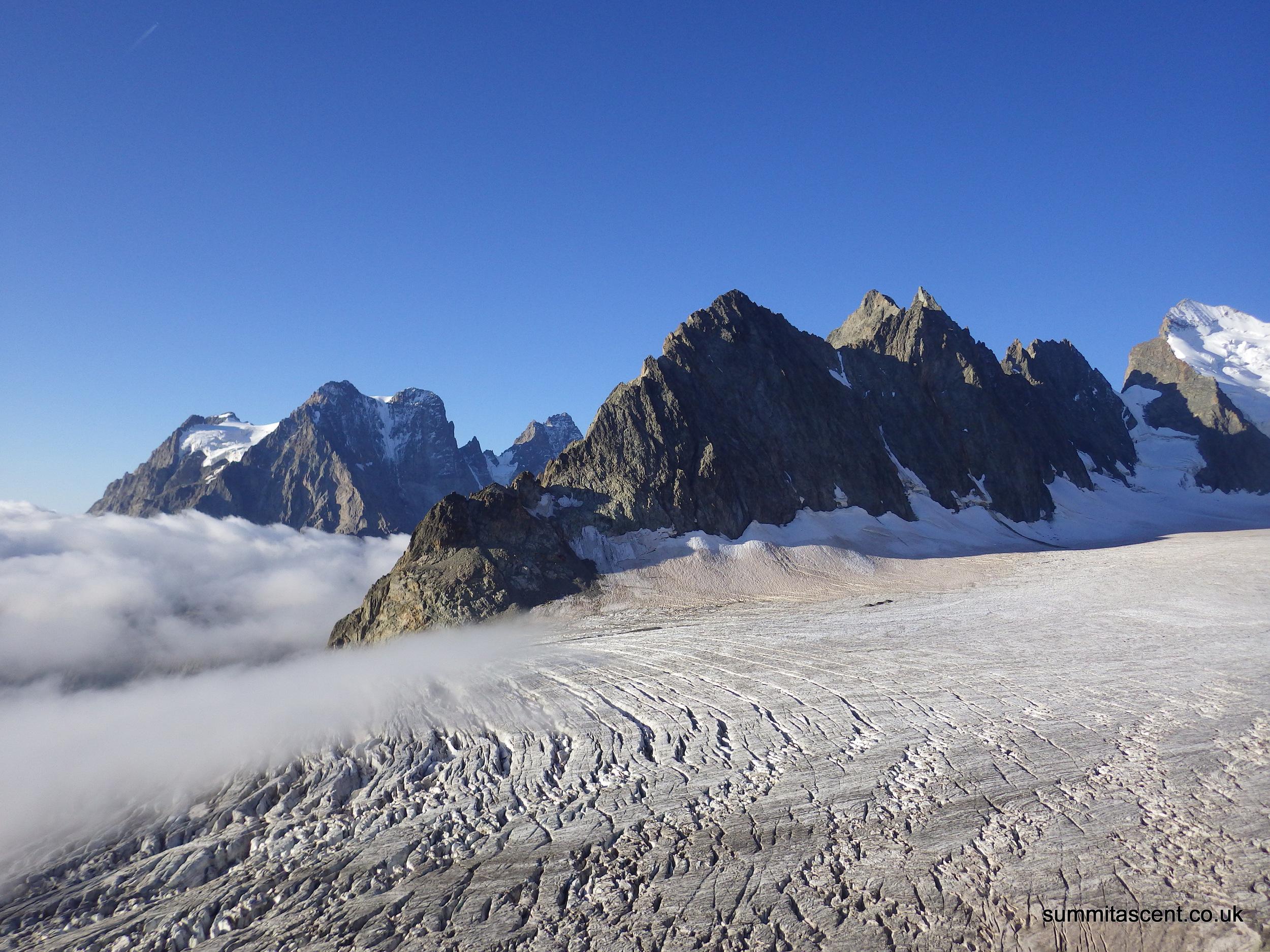 Glacier Blanc, Pointe de la Grande Sagne and with Mont Pelvoux in the background