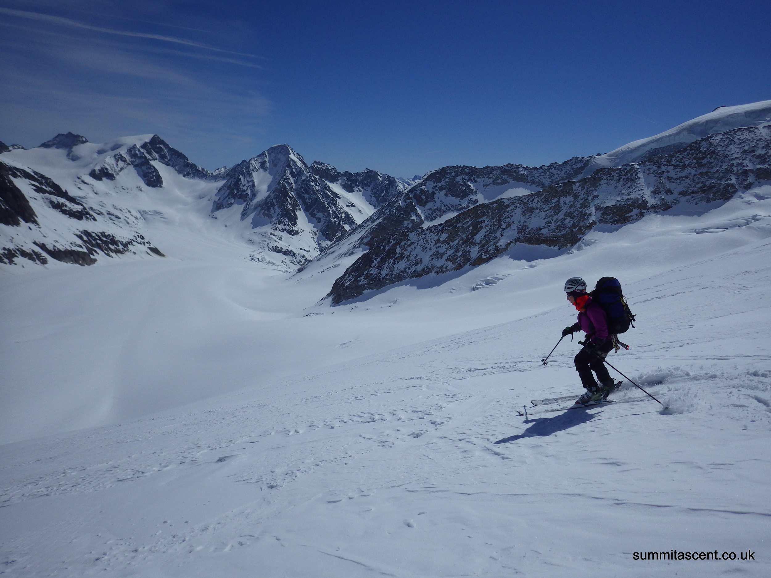 Skiing off the Summit of Wysnollen, Bernese Oberland