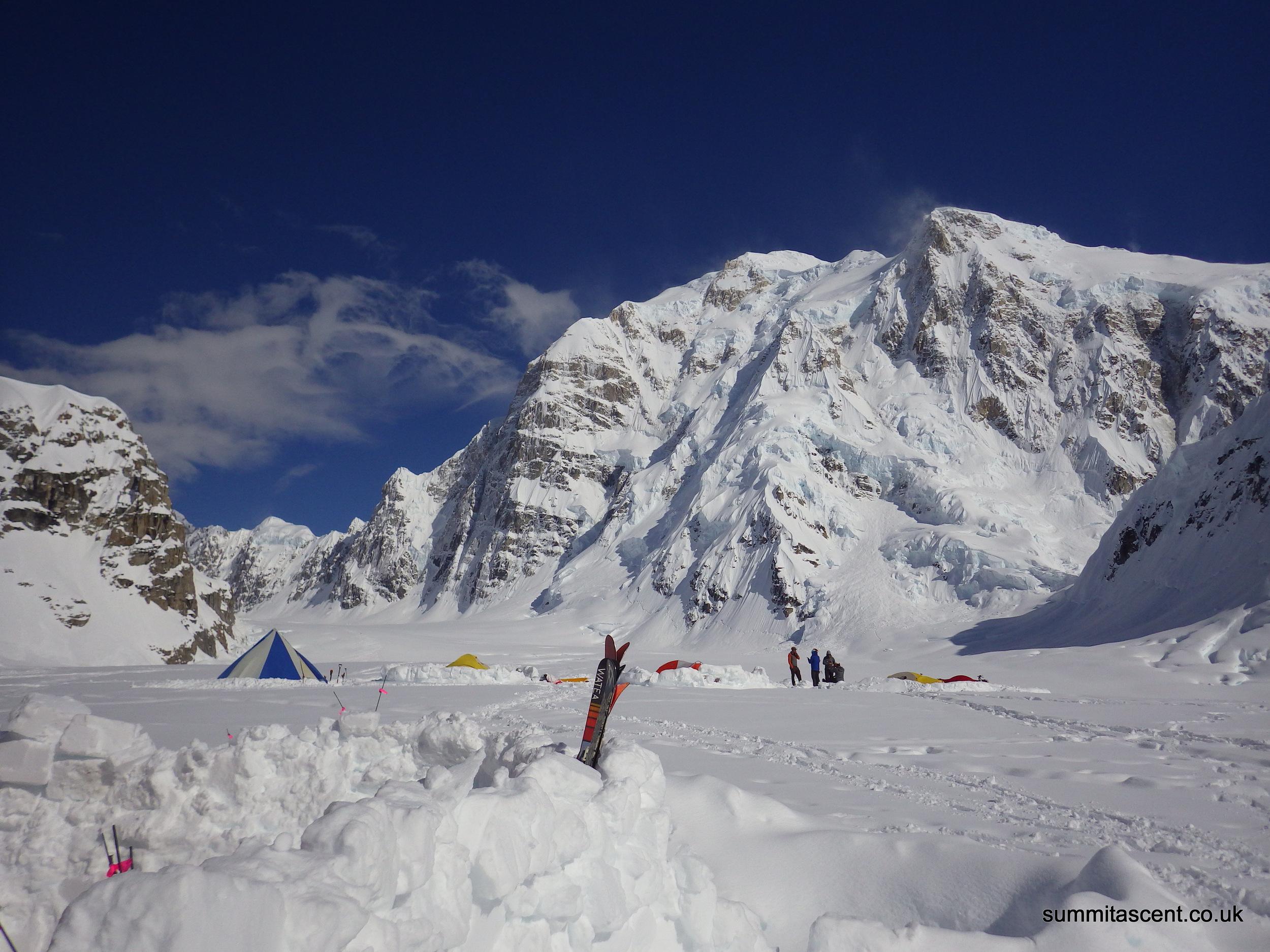 Base Camp with Mount Hunter behind, Kahiltna Glacier, Central Alaskan Range