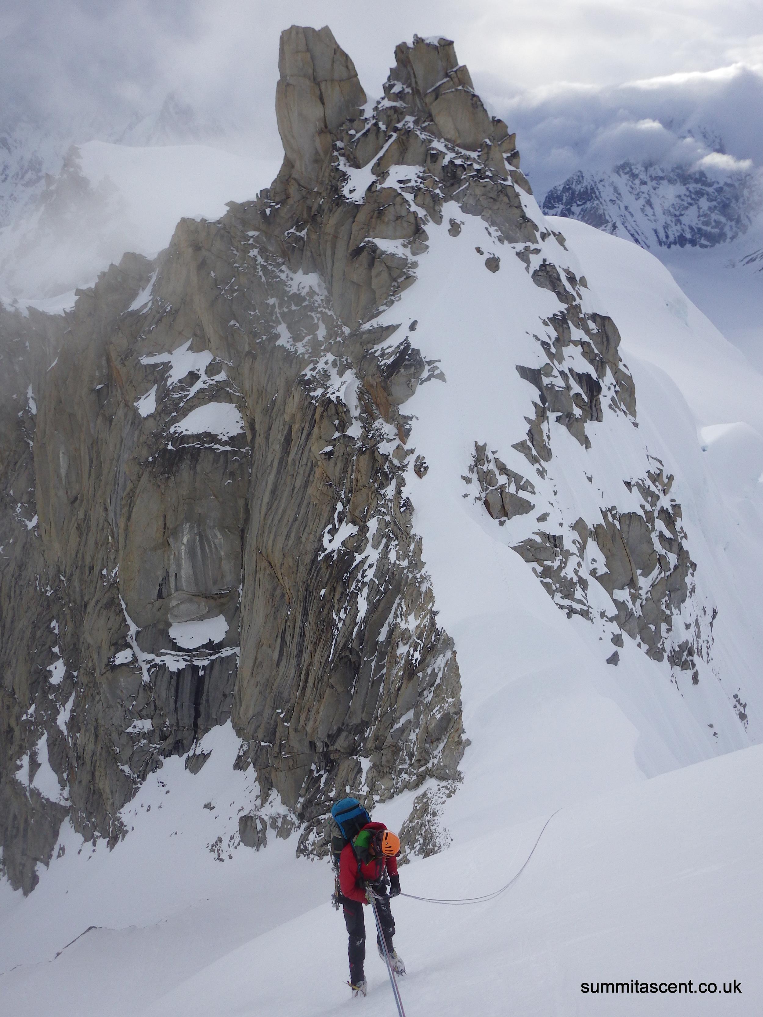 Retreating off the West Ridge,Mount Hunter,