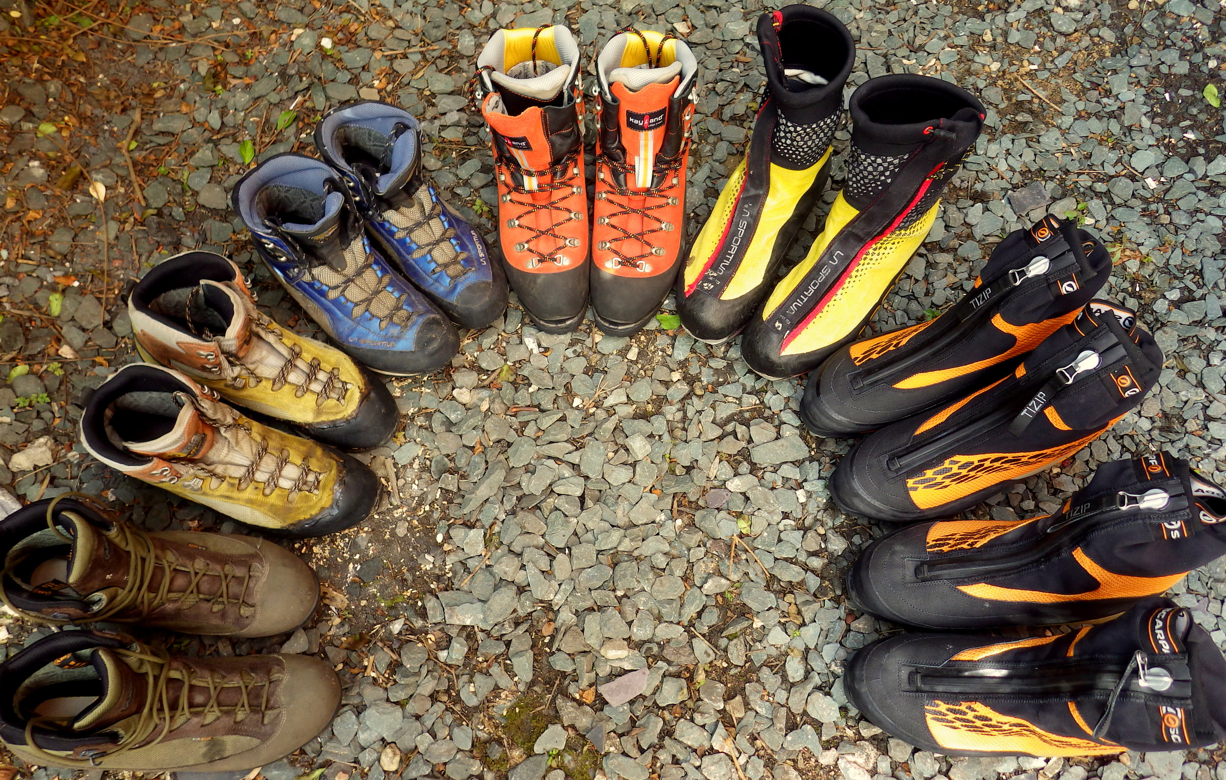 A selection of boots from BO (left) through to B3 (right)