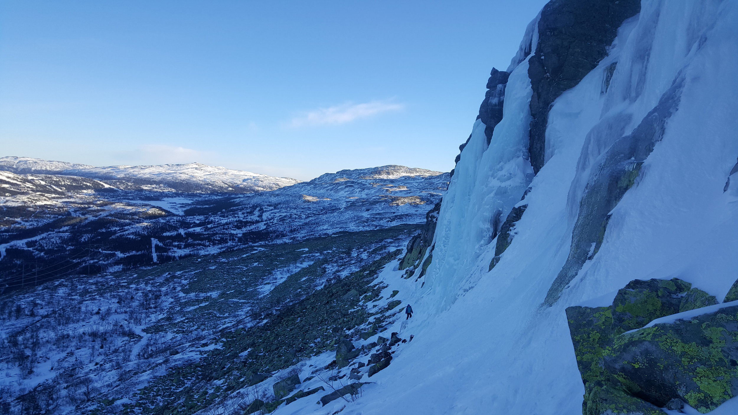 Spot the climber? Chilly day at the Gausta area, which is home to some great single pitch ice falls.